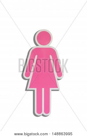 Women sign access for toilet Toilet symbol on isolate white background.