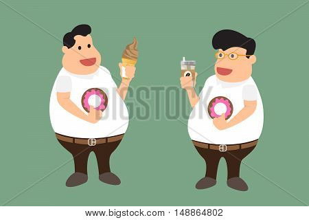 A fat man with fast food. obesity man. vector illustration.