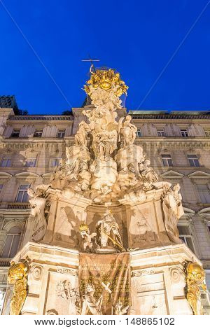 Vienna, Austria Plague sculpture Monument in old town main street of Vienna dowtown