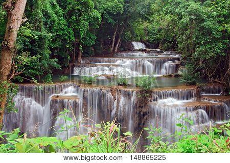 Huay Mae Khamin Waterfall, Paradise waterfall in Tropical rain forest of Thailand,closeup