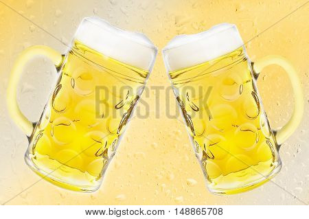 2 Beer mugs on yellow gradient drops background.