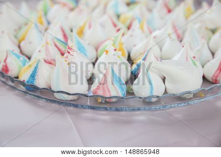 Homemade Rainbow Meringue Kisses Drops, Soft Selective Focus