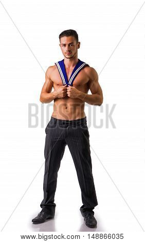 Portrait of handsome sexy sailor man looking at camera.Isolated.