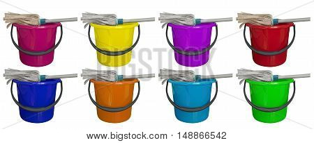 Colorful buckets with cleaning mop isolated on a white background