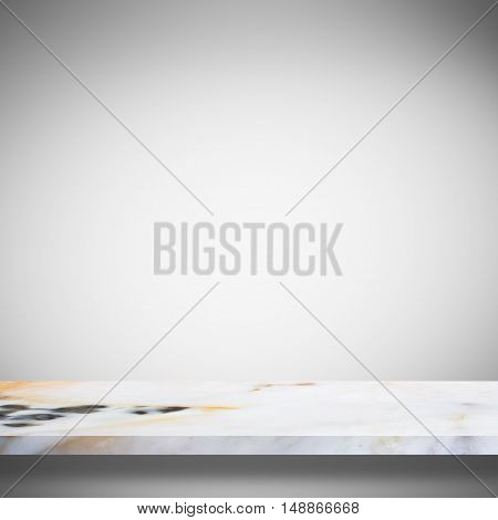 Empty top white marble shelves or marble table on gray gradient background / for product display montage product display