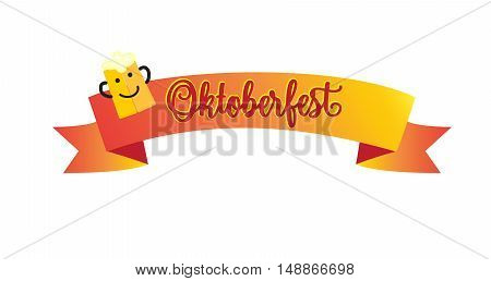 Oktoberfest ribbon banner with beer mag smiley isolated on white background. Vector illustration. Oktoberfest traditional beer festival background.