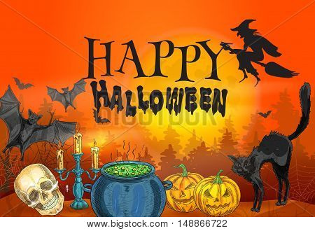 Bloody red orange background with halloween characters silhouette of whitch flying on broom, black cat and spooky smiling pumpkins, scary skull and magic cauldron with poisonous potion. Happy Halloween decoration poster template