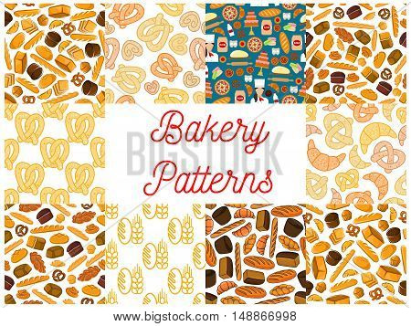 Bakery and patisserie seamless backgrounds. Wallpapers with vector baking icons of croissant, bread, baguette, muffin, bun, loaf, pretzel, bagel, pie flour dough cake cupcake
