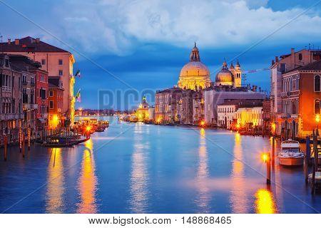 Grand Canal and Basilica Santa Maria della Salute in Venice at night