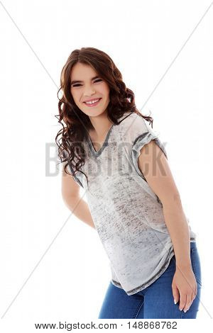 Happy pretty young brunette woman
