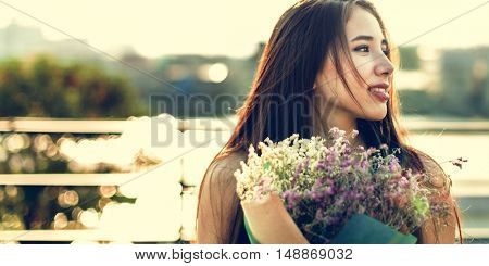 Young Woman Smiling Flowers Concept