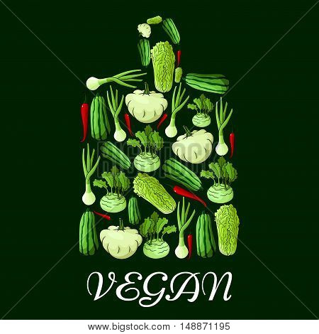 Vegan symbol. Cutting board symbol with vector icons of vegetables cabbage, onion, kohlrabi, pepper, zucchini, celery