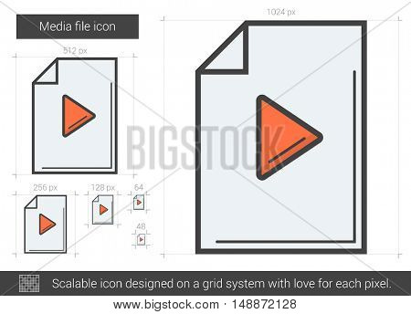 Media file vector line icon isolated on white background. Media file line icon for infographic, website or app. Scalable icon designed on a grid system.