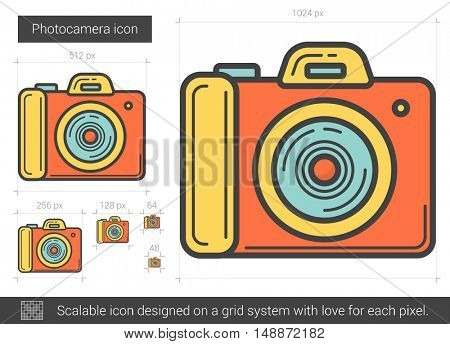 Photocamera vector line icon isolated on white background. Photocamera line icon for infographic, website or app. Scalable icon designed on a grid system.
