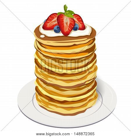 Stack delicious pancakes: strawberry blueberry berries whipped cream sauce mint leaf sugar powder on plate. Vector closeup side square beautiful fresh hot big breakfast illustration white background