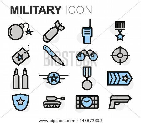 Vector flat line military icons set on white background