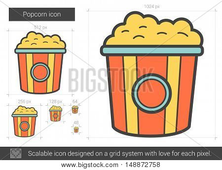 Popcorn vector line icon isolated on white background. Popcorn line icon for infographic, website or app. Scalable icon designed on a grid system.