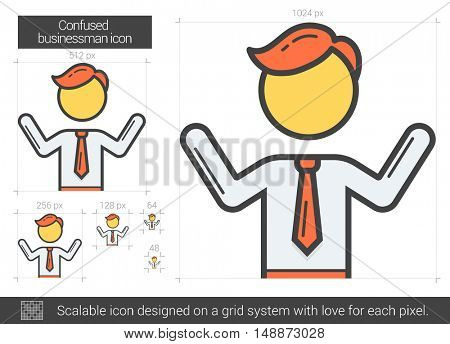 Confused businessman vector line icon isolated on white background. Confused businessman line icon for infographic, website or app. Scalable icon designed on a grid system.