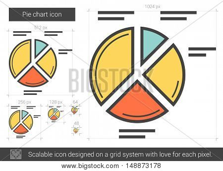 Pie chart vector line icon isolated on white background. Pie chart line icon for infographic, website or app. Scalable icon designed on a grid system.