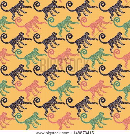 Linocut tropical Jungle Monkey background. Vector Illustrated Jungle Monkeys seamless pattern.