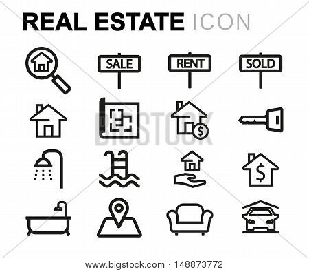 Vector black line real estate icons set on white background