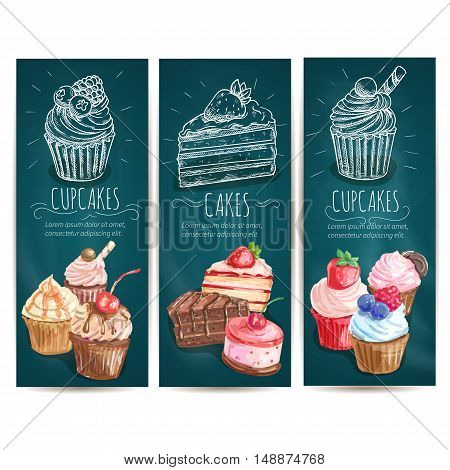 Cupcakes, cakes vertical banners. Vector chalk sketch icons of confectionery bakery sweets, pastry dessert, muffin, biscuit for patisserie, cafe leaflet, pastry shop signboard, menu