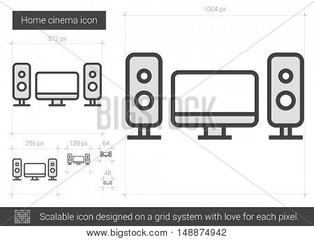 Home cinema vector line icon isolated on white background. Home cinema line icon for infographic, website or app. Scalable icon designed on a grid system.