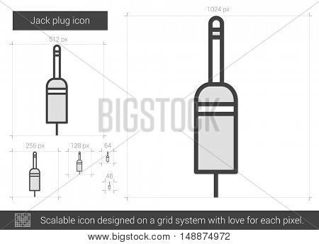 Jack plug vector line icon isolated on white background. Jack plug line icon for infographic, website or app. Scalable icon designed on a grid system.