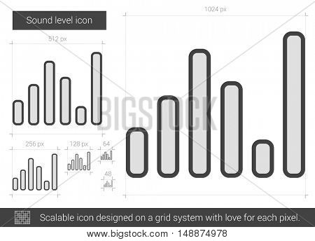 Sound level vector line icon isolated on white background. Sound level line icon for infographic, website or app. Scalable icon designed on a grid system.