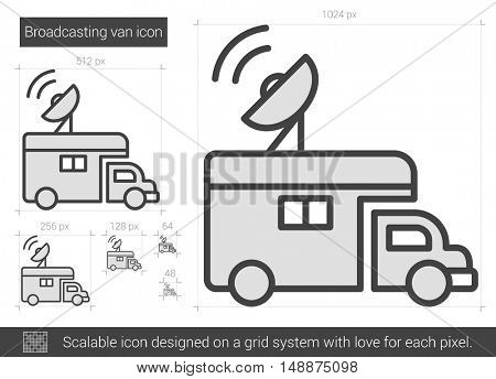 Broadcasting van vector line icon isolated on white background. Broadcasting van line icon for infographic, website or app. Scalable icon designed on a grid system.