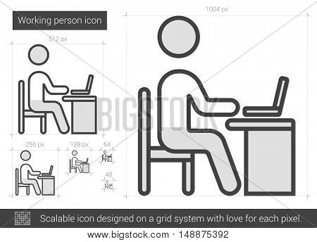 Working person vector line icon isolated on white background. Working person line icon for infographic, website or app. Scalable icon designed on a grid system.