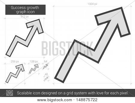 Success growth chart vector line icon isolated on white background. Success growth chart line icon for infographic, website or app. Scalable icon designed on a grid system.