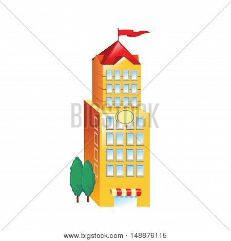Icon big yellow building on a white background. Vector illustration