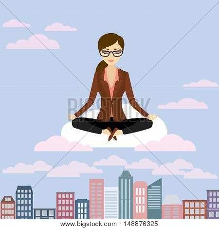 Business woman is meditating and relaxing in lotus posecity with skyscrapers Vector illustration