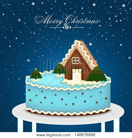 Creative house on snowy background for Merry Christmas celebration.