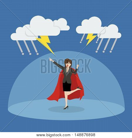 Business woman superhero with barrier protecting from thunderstorm. Vector Illustration