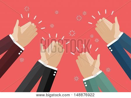 Human hands clapping. vector illustration business success