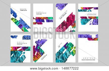 Abstract vector compositions set, business card collection, correspondence letter cover, a4 brochure title sheet, diploma, certificate, patent, eps 10 vector illustration