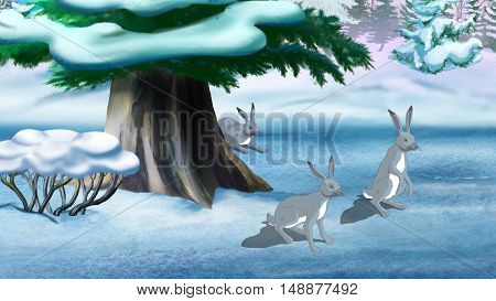 Gray rabbits in the winter forest. Digital painting cartoon style full color illustration.