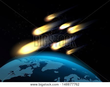 Shooting stars or fall comets over globe map. Meteor shower vector illustration