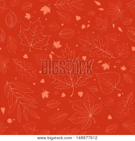 Outline autumn leaves. Orange seamless pattern with outline leaves silhouettes.