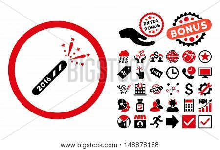 2016 Firecracker icon with bonus images. Glyph illustration style is flat iconic bicolor symbols, intensive red and black colors, white background.