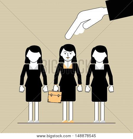 People Search . Hand picks a woman employee. Vector illustration of a flat line