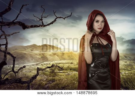 Beautiful Asian Girl Wearing A Red Hooded Cloak
