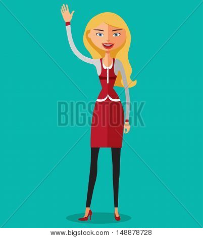 Blonde business woman waving her hand flat cartoon vector illustration. Eps10. Isolated on a white background.