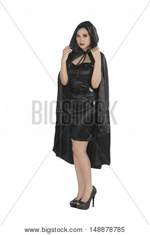 Beautiful Asian Girl Wearing A Black Hooded Cloak