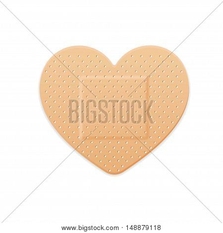 Aid Band Plaster Strip Medical Patch Heart. Vector illustration