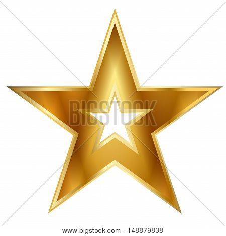 Gold american star sign. Golden bright icon isolated on white background. Elegance metal object. Metallic graphic. Design element for award medal. Symbol holiday christmas. Vector illustration