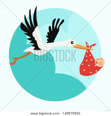 High quality original trendy vector baby announcement card. Stork with a baby