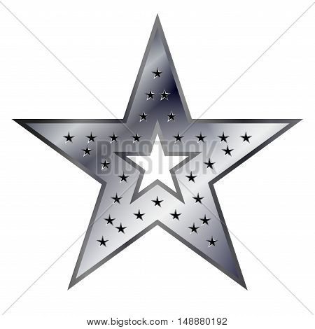 Silver american star sign. Bright icon isolated on white background. Elegance metal object. Metallic graphic. Design element for award medal. Symbol of holiday christmas. Vector illustration